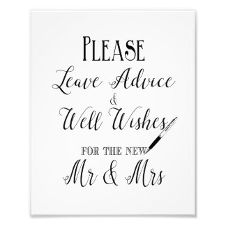Please leave your advice wedding sign photo