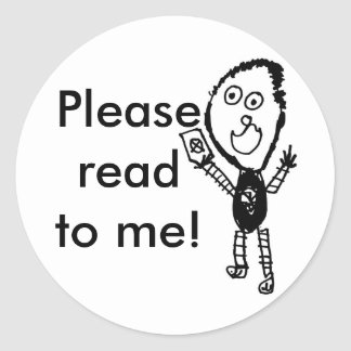 Please read to me! classic round sticker