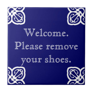 Please remove shoes - Spanish White on Blue Ceramic Tiles