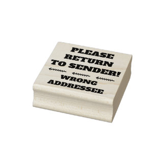 """PLEASE RETURN TO SENDER!"" ""WRONG ADDRESSEE"" RUBBER STAMP"