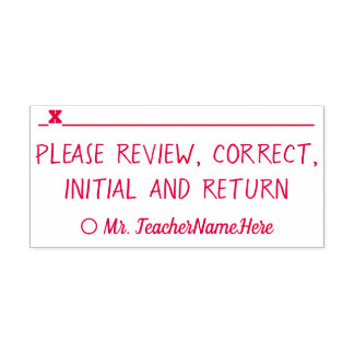 """""""Please review, correct, initial and return"""" Self-inking Stamp"""