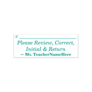 """""""Please Review, Correct, Initial & Return"""" Self-inking Stamp"""