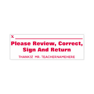 """Please Review, Correct, Sign And Return"" + Name Self-inking Stamp"