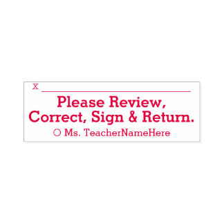 """""""Please Review, Correct, Sign & Return."""" & Name Self-inking Stamp"""