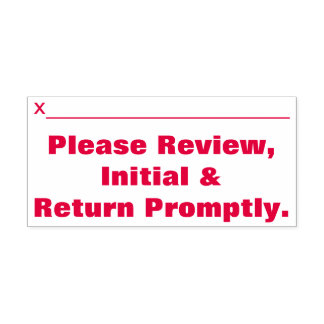 """""""Please Review, Initial & Return Promptly."""" Self-inking Stamp"""