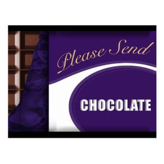 Please send chocolate postcard