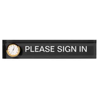 Please Sign In Sign Desk Name Plate with Clock