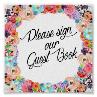 Please Sign Our Guest Book Floral Printout Poster