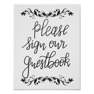 Please Sign Our Guestbook Calligraphy Wedding Poster