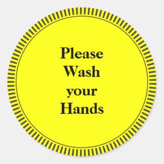 Please Wash Your Hands Round Sticker