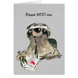 Please Woo Me Cartoon Sloth Card