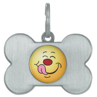 Pleased Smiley Face Grumpey Pet Name Tags