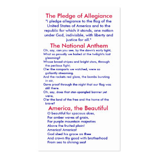 Pledge of Allegiance/ National Anthem/ America Business Card
