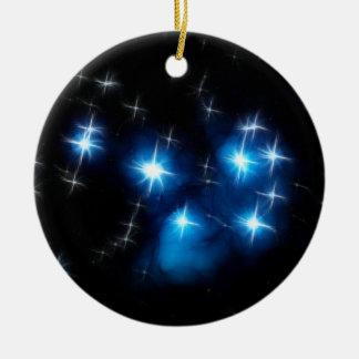 Pleiades Blue Star Cluster Round Ceramic Ornament