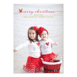 Plein houx et baies de Joyeux Noël de photo Carton D'invitation 12,7 Cm X 17,78 Cm