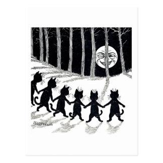 Pleine lune et chats, Louis Wain Cartes Postales