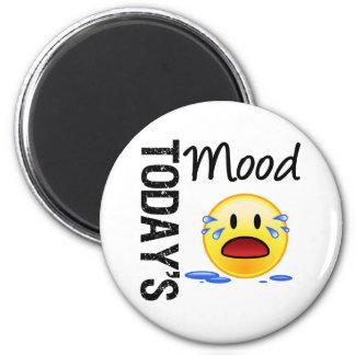 Pleurer d'aujourd'hui d'émoticône d'humeur magnet rond 8 cm