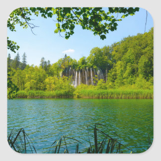 Plitvice Lakes National Park in Croatia Square Sticker