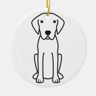 Plott Dog Cartoon Round Ceramic Ornament