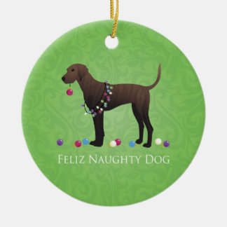 Plott Hound Christmas Ceramic Ornament