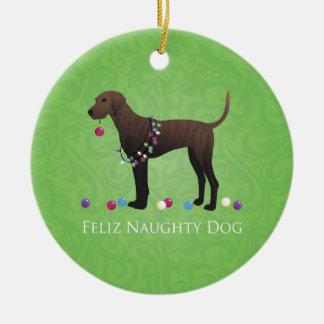 Plott Hound Christmas Round Ceramic Ornament