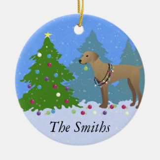 Plott Hound Decorating Tree in the Forest - Light Ceramic Ornament