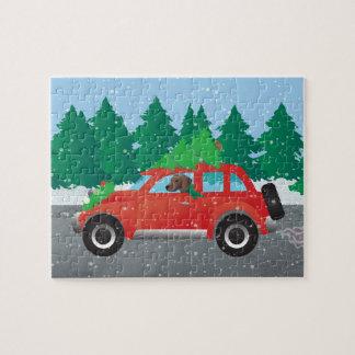 Plott Hound Dog Driving Christmas Car Jigsaw Puzzle