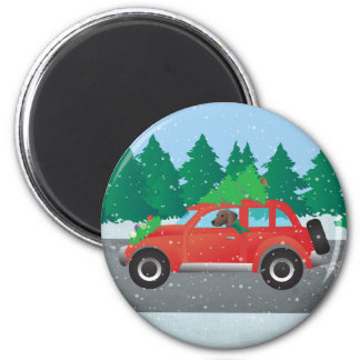 Plott Hound Dog Driving Christmas Car Magnet