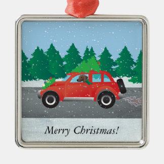 Plott Hound Dog Driving Christmas Car Metal Ornament