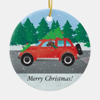 Plott Hound Dog Driving Christmas Car Round Ceramic Ornament