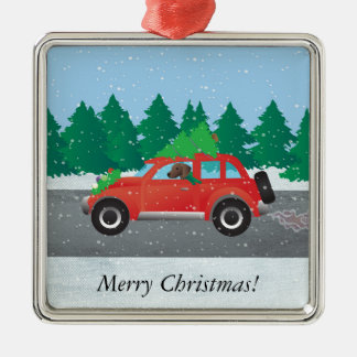 Plott Hound Dog Driving Christmas Car Silver-Colored Square Ornament