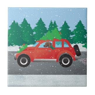 Plott Hound Dog Driving Christmas Car Tile