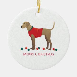Plott Hound Hunting Dog Merry Christmas Design Round Ceramic Ornament