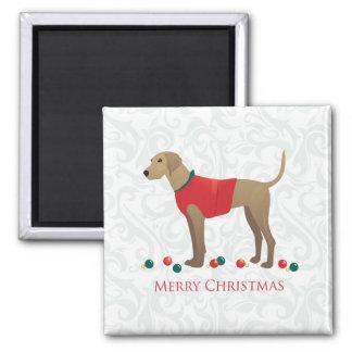 Plott Hound Hunting Dog Merry Christmas Design Square Magnet