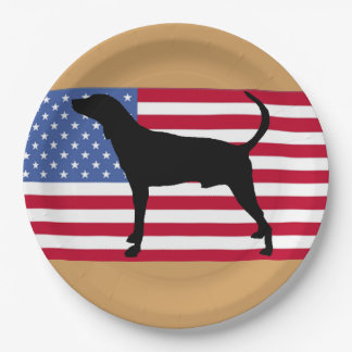 plott hound silhouette usa-flag paper plate