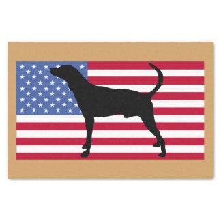plott hound silhouette usa-flag tissue paper