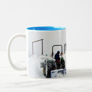 Ploughing Snow on the Ranch Two-Tone Coffee Mug