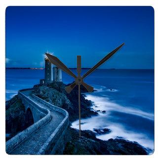 Plouzane, France, Lighthouse at night Square Wall Clock