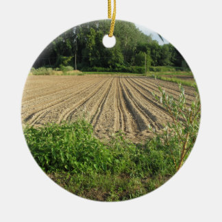Plowed field in the late afternoon in Tuscany Round Ceramic Ornament