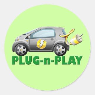PLUG-N-PLAY ELECTRIC CAR ROUND STICKER