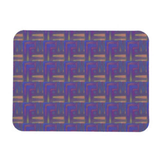 Plum and Beige Abstract Plaid Rectangular Magnets