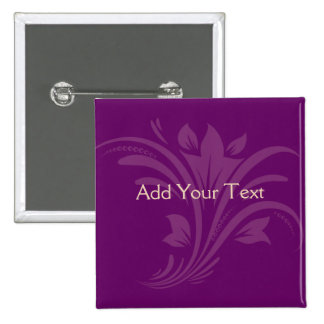 Plum and Cream Floral Scroll 2 Inch Square Button