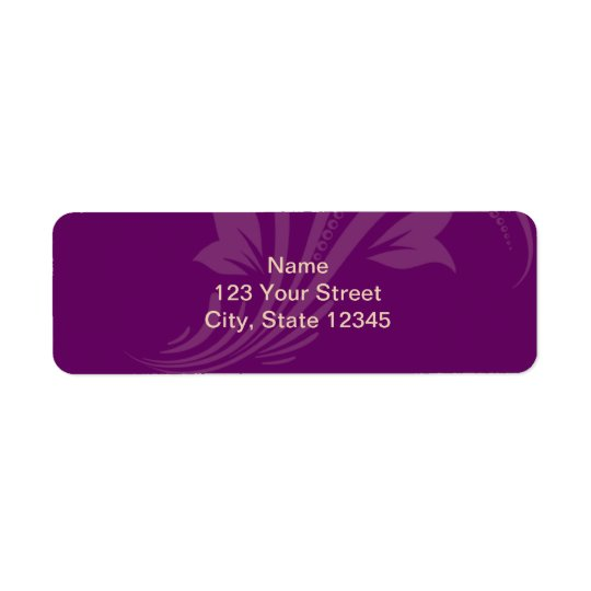 Plum and Cream Floral Scroll Return Address Label