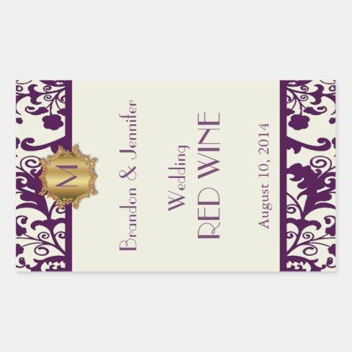 Plum and Cream Monogram Wedding Wine Sticker
