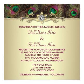 "Plum and Emerald Green Gold Peacock Wedding 5.25"" Square Invitation Card"