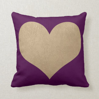 plum and faux gold leather heart throw pillow