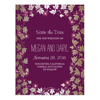 Plum and Gold Garden Branches Save the Date Postcard