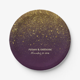 Plum and Gold Glitter Glam Vintage Wedding Paper Plate