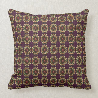 Plum And Gold Retro Motif Throw Pillow