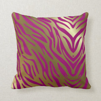 Plum and Gold Zebra Pattern Throw Pillow